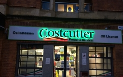 Raised lettering with LED halo effect lighting